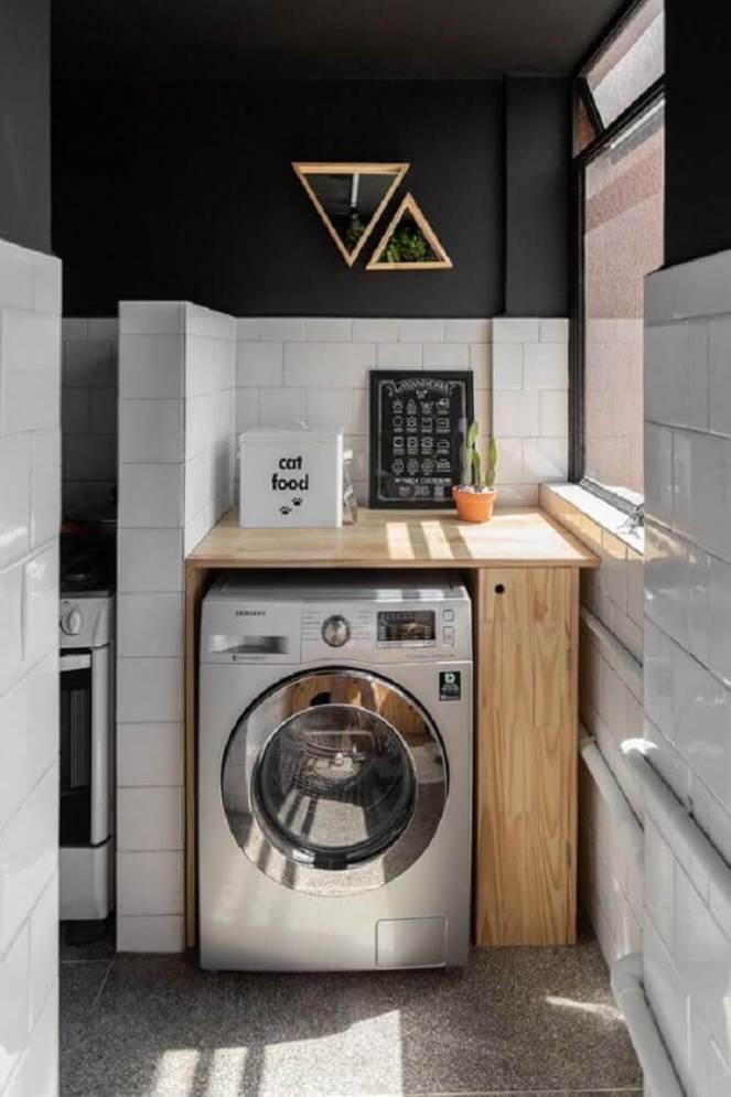 decoração-em-preto-e-branco-com-armário-pequeno-para-lavanderia-Foto-Casa-Vogue