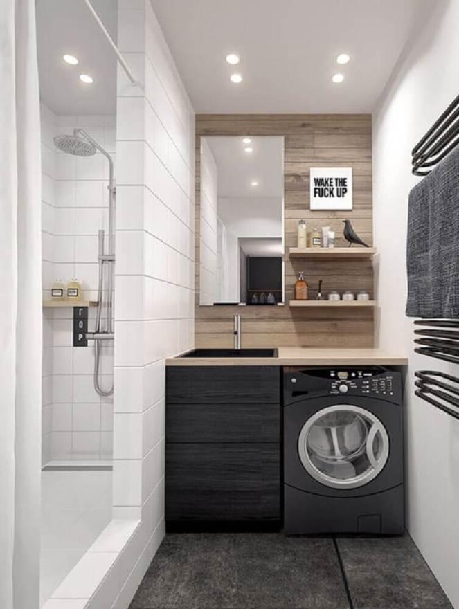 lavanderia-pequena-planejada-com-revestimento-em-alvenaria-Foto-Any-Home-Decoration