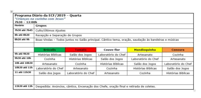 Programa Diário ECF 2019 - Quarta