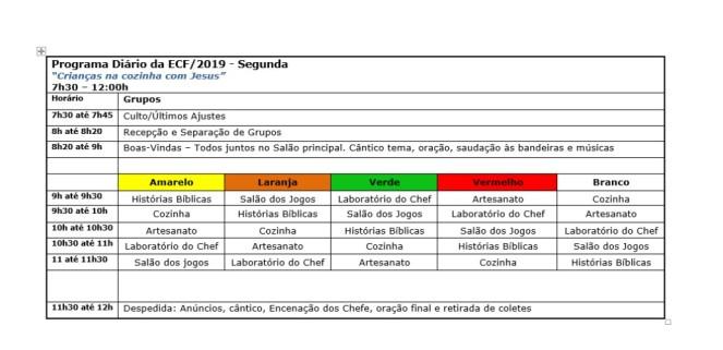 Programa Diário ECF 2019 - Segunda