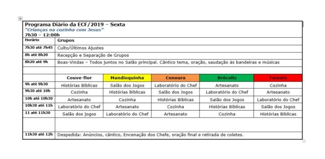 Programa Diário ECF 2019 - Sexta