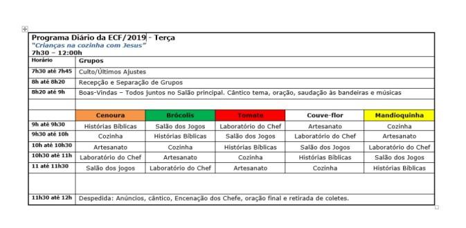 Programa Diário ECF 2019 - Terça
