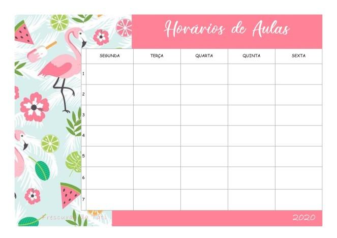 Horário de aulas - Flamingo